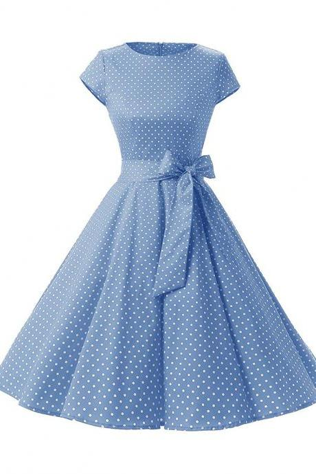 Vintage Polka Dot Dress Women Summer Short Sleeve Belted Rockabilly Casual Party Dress light blue (small dot)