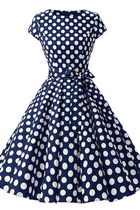 Vintage Polka Dot Dress Women Summer Short Sleeve Belted Rockabilly Casual Party Dress navy blue (big dot)