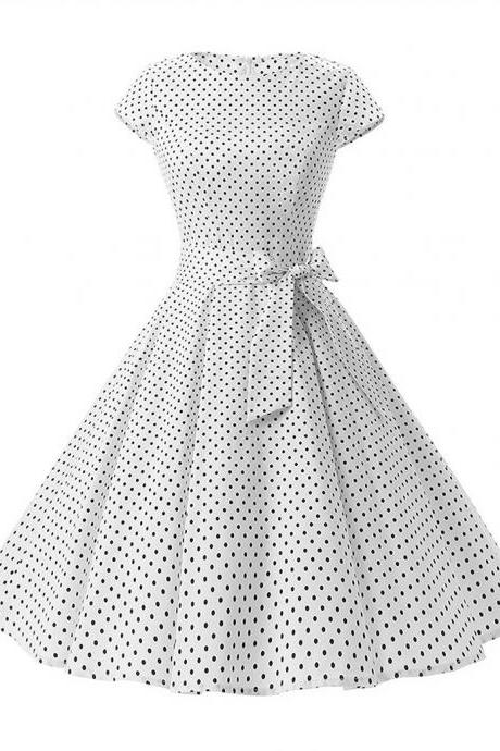 Vintage Polka Dot Dress Women Summer Short Sleeve Belted Rockabilly Casual Party Dress white (small dot)