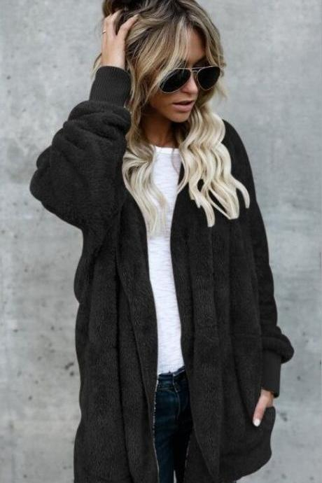 Women Faux Fur Coat Winter Long Sleeve Hooded Warm Fluffy Cardigan Jacket Overcoat black