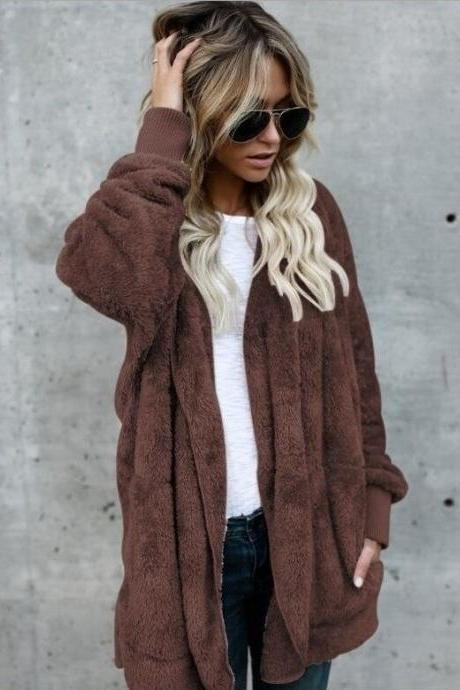 Women Faux Fur Coat Winter Long Sleeve Hooded Warm Fluffy Cardigan Jacket Overcoat coffee