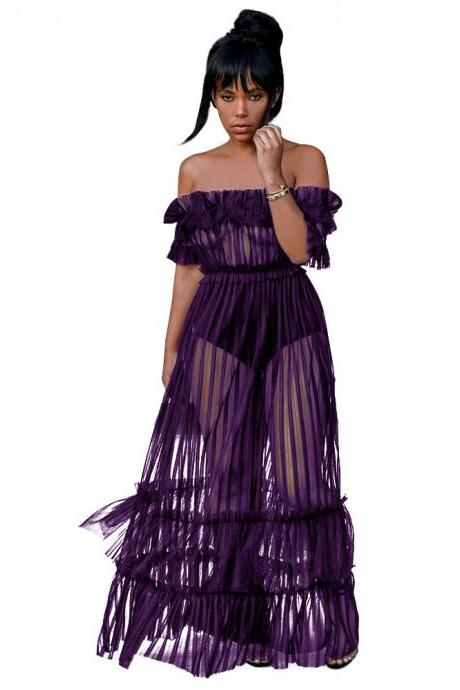 Sexy Off Shoulder Maxi Dress See Through Sheer Mesh Long Night Club Party Dress purple