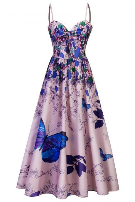 Women Butterfly Floral Printed Long Dress Spaghetti Strap Summer Beach Tea Length Boho A Line Sundress blue