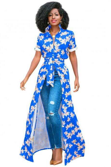Women Floral Printed Maxi Dress Short Sleeve Button Split Turn Down Collar Casual Boho Long Shirt Dress blue