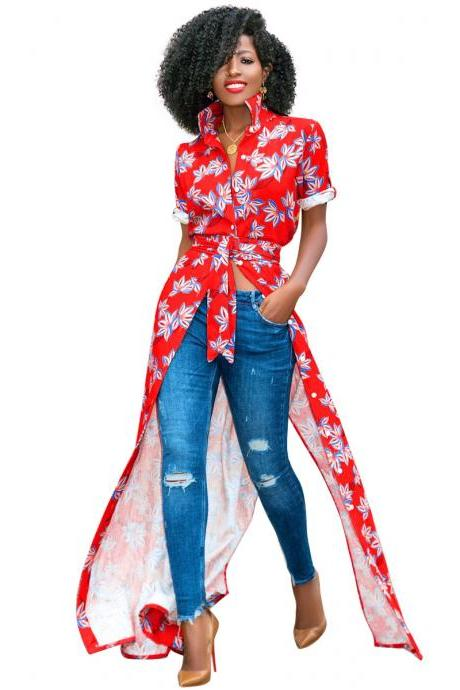 Women Floral Printed Maxi Dress Short Sleeve Button Split Turn Down Collar Casual Boho Long Shirt Dress red