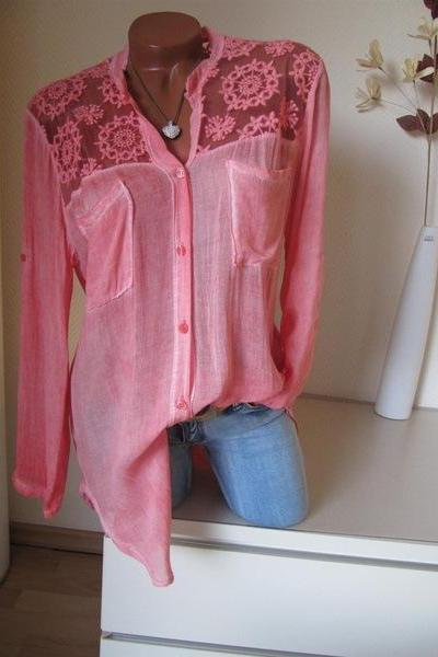 Women Blouse Lace Patchwork Long Sleeve Pocket V Neck Casual Loose Plus Size Shirt deep pink