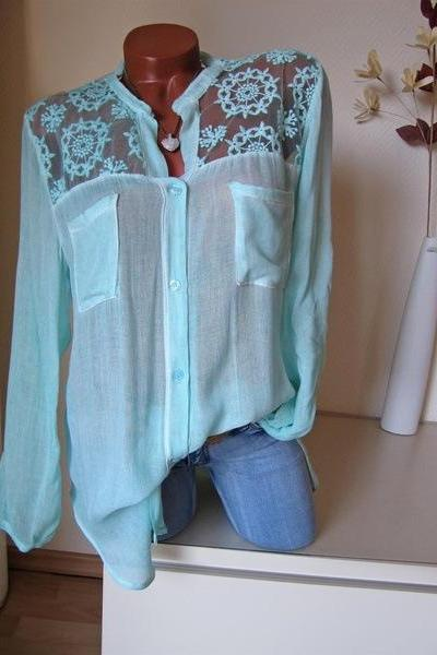 Women Blouse Lace Patchwork Long Sleeve Pocket V Neck Casual Loose Plus Size Shirt pale green