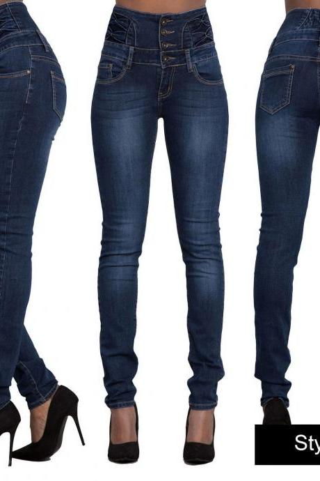 Woman Denim Pencil Pants High Waist Skinny Bodycon Jeans Long Trousers dark blue