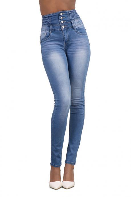 Woman Denim Pencil Pants High Waist Skinny Bodycon Jeans Long Trousers light blue