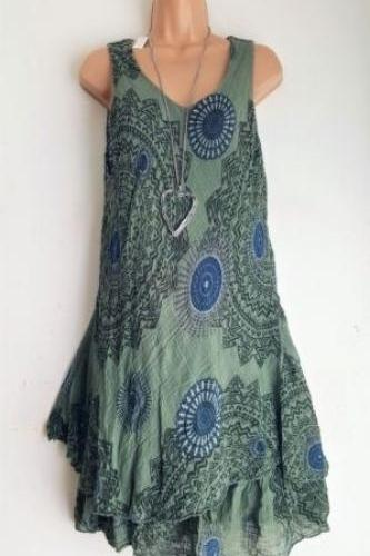 Women Floral Printed Mini Dress Summer Sleeveless Plus Size A Line Boho Beach Sundress