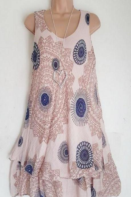 Women Floral Printed Mini Dress Summer Sleeveless Plus Size A Line Boho Beach Sundress light pink