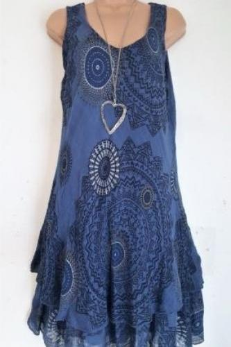 Women Floral Printed Mini Dress Summer Sleeveless Plus Size A Line Boho Beach Sundress navy blue