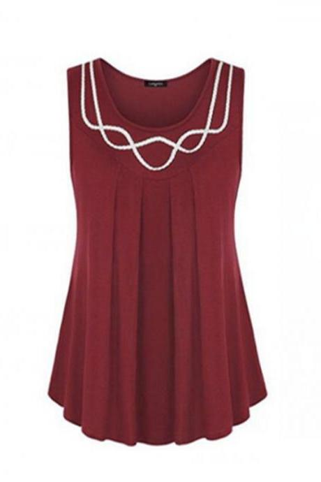 Women Tank Tops Summer Casual O Neck Loose Plus Size Sleeveless T Shirt Blouse burgundy