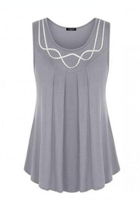 Women Tank Tops Summer Casual O Neck Loose Plus Size Sleeveless T Shirt Blouse gray