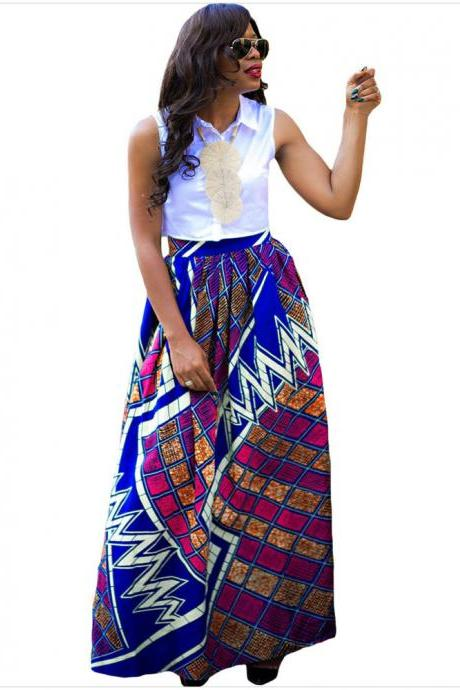 Women African Maxi Skirt Floral Printed High Waist Pleated Floor Length Boho Beach Long Skirt Q0002