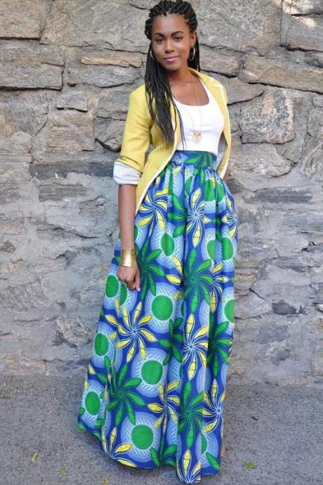Women African Maxi Skirt Floral Printed High Waist Pleated Floor Length Boho Beach Long Skirt Q0013