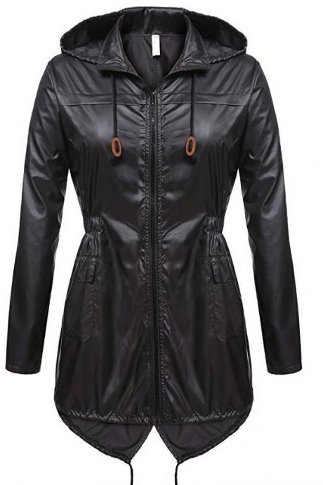 Women Raincoat Spring Autumn Hooded Long Sleeve Slim Fit Casual Waterproof Coat Jacket black