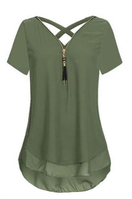 Women T Shirt Zipper Cross V Neck Short Sleeve Summer Casual Plus Size Slim Tee Tops army green