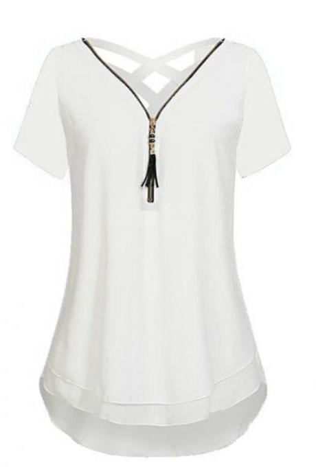 Women T Shirt Zipper Cross V Neck Short Sleeve Summer Casual Plus Size Slim Tee Tops off white