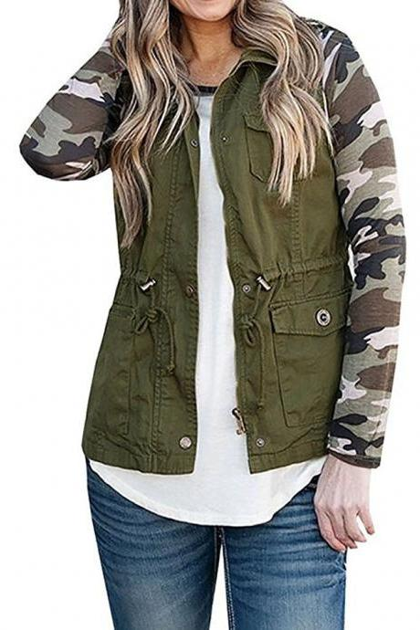 Women Waistcoat Fashion Pocket Buttons Casual Sleeveless Vest Cost Jacket Outwear army green