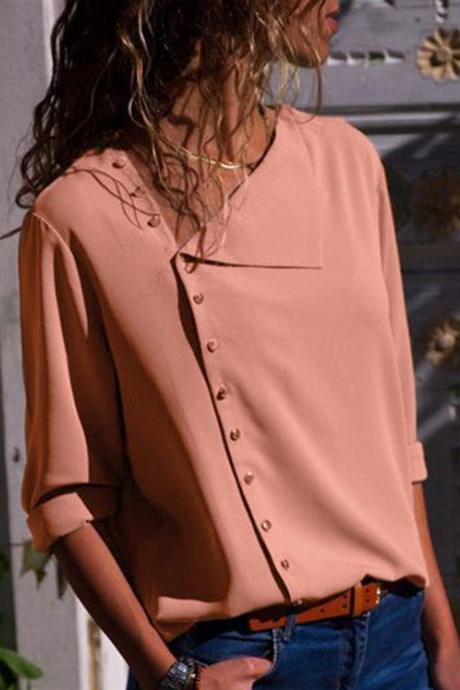 Women Blouse Skew Collar Button Long Sleeve Streetwear Casual Work Loose Top Shirt pink