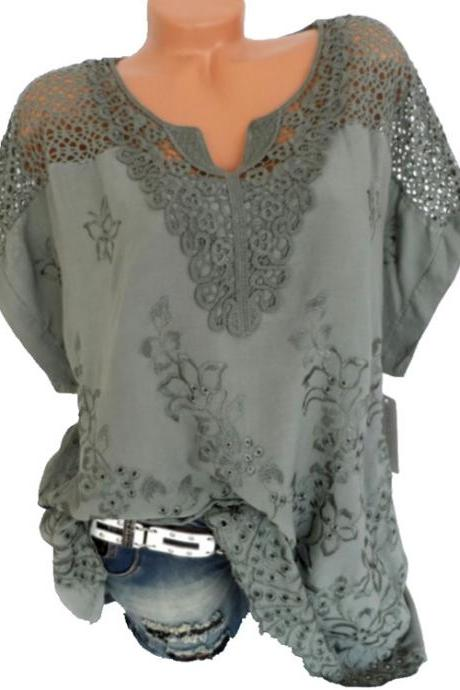 Women Lace T Shirt Embroidery V Neck Short Sleeve Summer Casual Plus Size Loose Tops green as pic