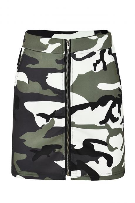 Women Camouflage Mini Skirt Front Zipper High Waist Sexy Slim Shoot Bodycon Skirt