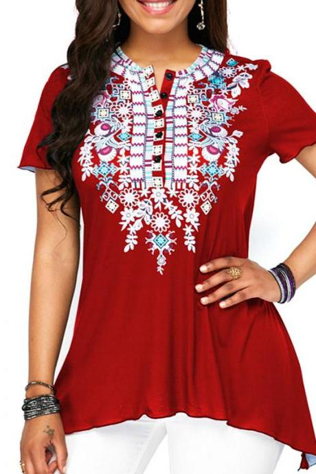 Women Floral Printed T Shirt Button Short Sleeve Summer Casual Plus Size Loose Tee Tops crimson