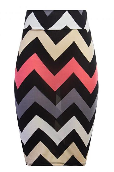 Women Striped Pencil Skirt Slim High Waist Knee-Length OL Work Office Bodycon Skirt 8#