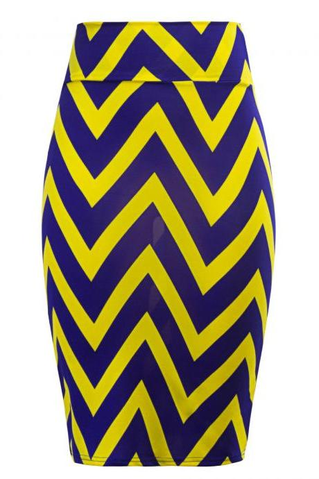 Women Striped Pencil Skirt Slim High Waist Knee-Length OL Work Office Bodycon Skirt 10#