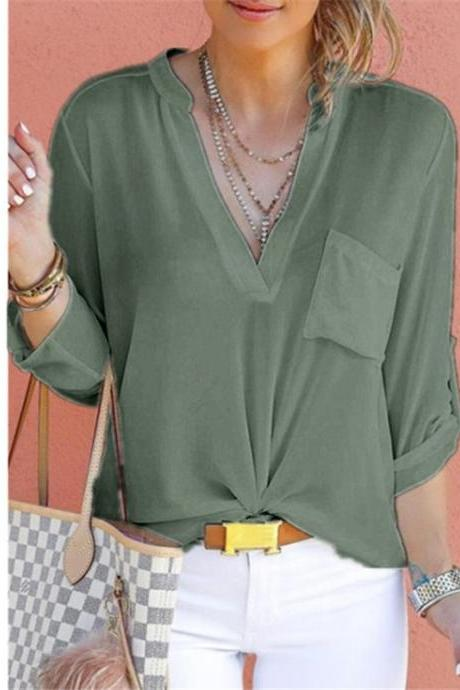 Women Chiffon Blouse V Neck Long Sleeve Pockets OL Plus Size Casual Loose Tops Shirt army green