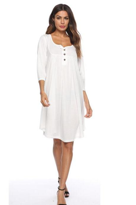 Women T Shirt Dress Autumn 3/4 Sleeve Buttons Plus Size Causal Loose Midi Dress off white