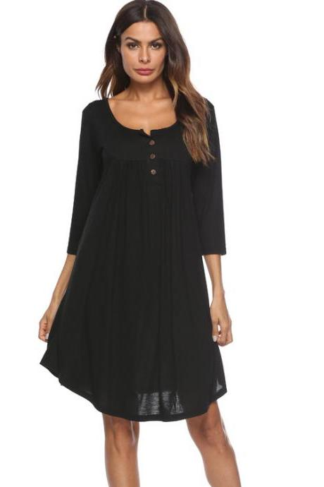Women T Shirt Dress Autumn 3/4 Sleeve Buttons Plus Size Causal Loose Midi Dress black