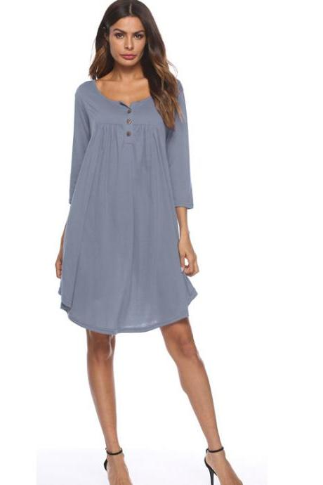 Women T Shirt Dress Autumn 3/4 Sleeve Buttons Plus Size Causal Loose Midi Dress gray