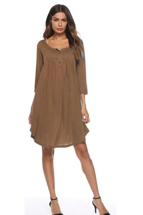 Women T Shirt Dress Autumn 3/4 Sleeve Buttons Plus Size Causal Loose Midi Dress khaki