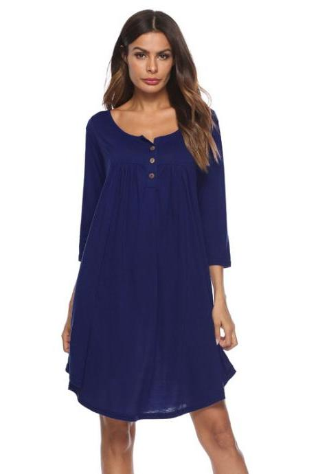 Women T Shirt Dress Autumn 3/4 Sleeve Buttons Plus Size Causal Loose Midi Dress navy blue