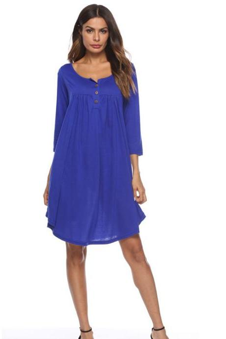 Women T Shirt Dress Autumn 3/4 Sleeve Buttons Plus Size Causal Loose Midi Dress royal blue