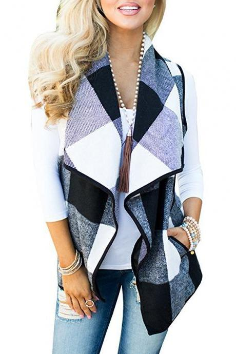 Women Plaid Waistcoat Spring Autumn Lapel Neck Casual Sleeveless Coat Cardigan Vest Jackets black+white