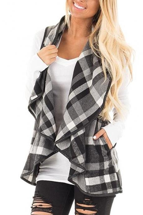 Women Plaid Waistcoat Spring Autumn Lapel Neck Casual Sleeveless Coat Cardigan Vest Jackets gray+white