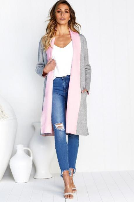 Women Woolen Trench Coat Autumn Warm Patchwork Casual Long Sleeve Cardigan Jacket pink+gray