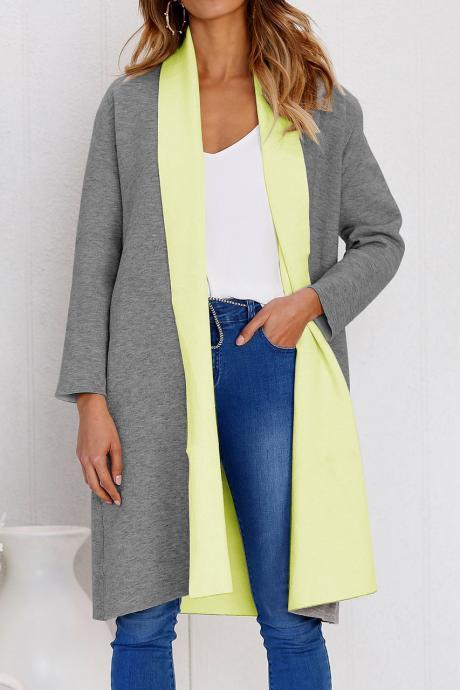 Women Woolen Trench Coat Autumn Warm Patchwork Casual Long Sleeve Cardigan Jacket yellow+gray