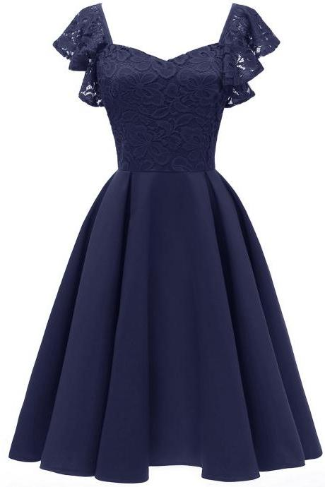 Women Casual Dress Vintage Ruffle Lace Cap Sleeve A Line Work Office Party Dress navy blue