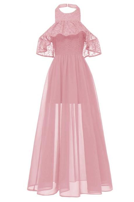 Women Chiffon Maxi Dress Halter Lace Beach Casual Long Evening Party Dress pink