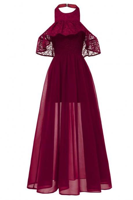 Women Chiffon Maxi Dress Halter Lace Beach Casual Long Evening Party Dress burgundy
