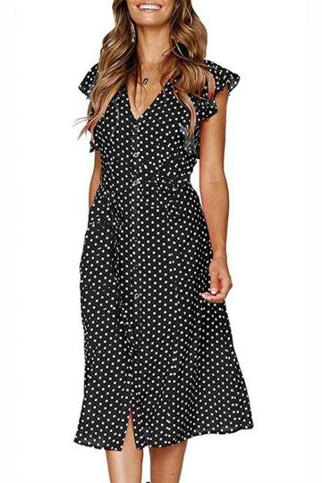 Women Polka Dot Shirt Dress V Neck Ruffle Sleeveless Casual Boho Beach A Line Midi Sundress black