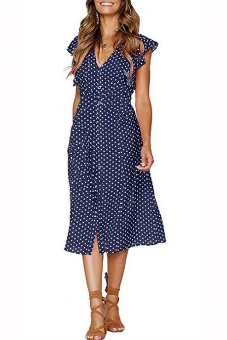 Women Polka Dot Shirt Dress V Neck Ruffle Sleeveless Casual Boho Beach A Line Midi Sundress navy blue