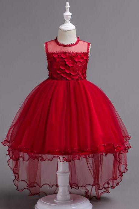 High Low Lace Flower Girls Dress Sleeveless Trailing Formal Party Birthday Gown Children Clothes red