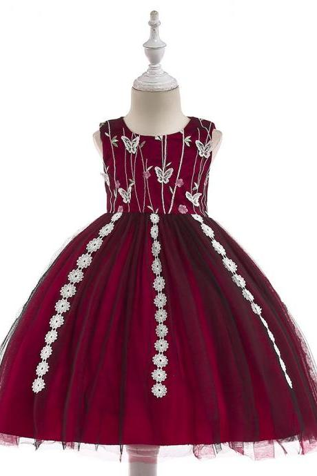 Embroidery Flower Girls Dress Tassel Lace Formal Birthday Party Tutu Gown Children Clothes burgundy
