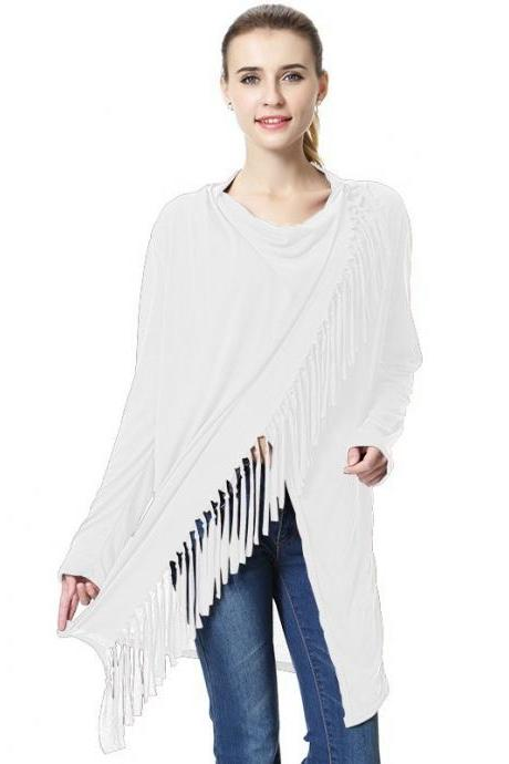 Women Asymmetrical Tassels Shawl Coat Ponchos Design Long Sleeve Scarves Casual Sweater Jacket off white