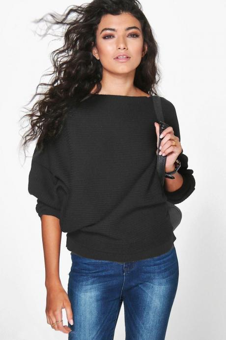 Women Knitted Sweater Spring Autumn Bat Long Sleeve Loose Oversized Pullover Tops black